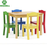 Kids Wooden Dining Table with 4PCS Chairs Sets
