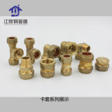 Brass Refrigeration Compression Tee with Copper Ring Union Pipe Fitting