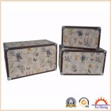 Butterfly Canvas Print 3-PC Large Storage Trunk with Metal Corners