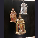 Classic Glass Blowing Hanging Lighting Fixture, E27 Socket, Copper, Golden, Silver Colors Finish