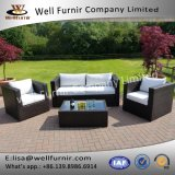 Well Furnir 4 Piece Outdoor Rattan Sofa Set with White Cushion T-081