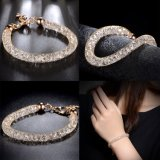 Fashion Jewelry Stainless Steel Gold Plated Mesh Crystal Bracelet