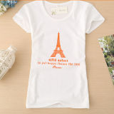 Short Sleeve Round Neck Cotton Women T-Shirt