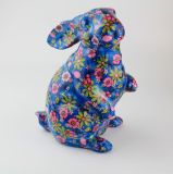 Factory Direct Low Price Blue Rabbit Painted Ceramic Piggy Banks