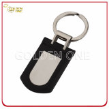 High Quality PU Leather Key Tag Cover Brushed Steel