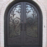 Round Top Exterior Wrought Iron Double Door (UID-D032)