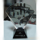 Diamond Shape Crystal Award with Black Base