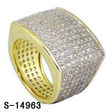 Cool Design 925 Silver CZ Jewelry Two Tone Hip Hop Men Ring. (S-14963)