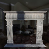 Popular Design Indoor Freestanding Natural Green Cast Stone Marble Fireplace