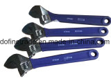 Professional Adjustable Wrench with Plastic Handle Chromate Finish up to 65mm Cutting