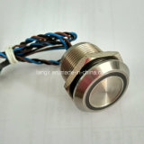 Stainless Steel 316L 24V Blue Ring LED Latching 19mm Piezo Switch IP68 Waterproof