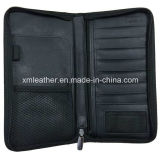 Embossed Black Zip PU Leather Travel Document Wallet for Passport
