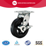6 Inch Rubber on Steel Flat Tread Black Wheel