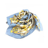 OEM Oversized Screen Printing Multi Blue Chiffon Silk Scarf