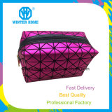 Lady Purple Soft Diamond PU Makeup Cosmetic Organizer Bag