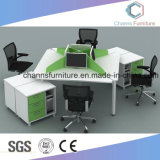 Popular Green Partition Divider Cheap 4 People Office Cross Workstation with Cabinet (CAS-W1875)