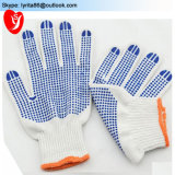 Cotton Knitted Glove White with Blue PVC Dots on Palm
