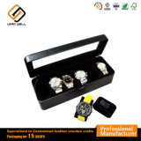 6 Slots Black Luxury Leather Watch Display Case
