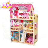 2018 New Design Girls Wooden Pink Dollhouse with Furniture W06A163c