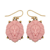 3 Colors Acrylic Lion Shape Vintage Gold Plated Drop Earrings