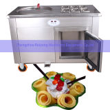 Double 50cm Round Pans with 10 Cooling Barrels/Tanks Thai Fried Ice Cream Machine