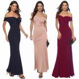 Ladies off Shoulder Burgundy Evening Dress