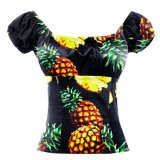 OEM Fashion Black Pineapple Printed Round Collar Floral Sexy Tops Female