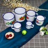 Wholesale Prices Enamel Mugs with Flowers/Fruits Design