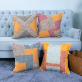 Hand-Made Decorative Cushion/Pillow with Patchwork Geometric Pattern (MX-50)