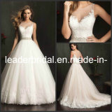 2016 Wedding Dress Sheer Pearl Lace Tulle Bridal Wedding Gown A9073