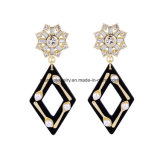 New Fashion Elegant Inlaid Diamond Long Earring Rhombus Design Pendant with Pearl for Women