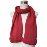 Lady Fashion Wool Acrylic Knitted Scarf with Ruffle Trim (YKY4377)