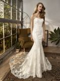 Strapless Lace Applique Mermaid Bridal Evening Dress Wedding Gown