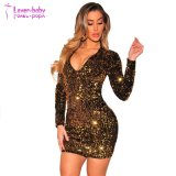 New Ladies′ Fashion Elegant Gold Sequins Long Sleeves Dress