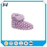 Women White PV Plush Indoor Purple Women Boots with Dots