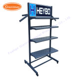 4 Way Slanted Arms Tube Modern Clothing Wrought Iron Standing Clothes Garment Display Rack for T-Shirt