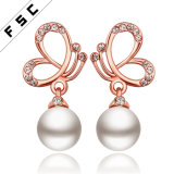 Hot Sale Rose Gold Plated Fashion Jewelry Butterfly Pearl Earrings
