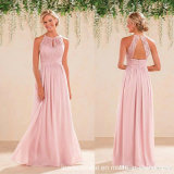 2017 Pink Prom Dresses Lace Chiffon Bridesmaid Evening Dresses P61801