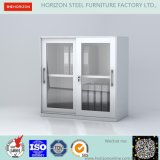 Steel Low Storage Cabinet with Double Swinging Steel Framed Glass Doors