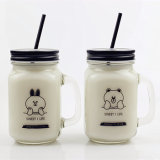 Wholesale 450ml Cute Printing Glass Mug with Lid and Straw