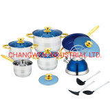 15PCS Stainless Steel Cookware Set with Kettle and Nylon Tools
