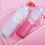 Hello Master Compettive Price Leaf Proof Plastic Lid My Bottle 400ml Customized Print Gradual Frosted Glass Drinking Water Bottle with Cover&Handle Pastoral