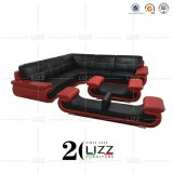 New European Italy Modern Sectional Living Room /Home /Hotel /Office /Commercial Top Grain Genuine Leather Leisure Corner Sofa Furniture Set