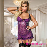 China Wholesale Top Quality Cheap Price Purple Sexy Women Babydoll with Garter