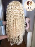Wholesale Pre-Plucked Sample Human Remy Hair Swiss Lace Blond 360 Lace Wig 613 Deep Curly Full Lace Wigs for Black Women