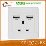 China Manufacturer Wholesale White UK USB Wall Socket