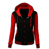 Manufacturer Wholesale Women's Long Sleeves Stylish Color Contrast Black/Red Hoodie Jacket