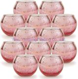 Round Rose, Bulk with Speckled for Table Centerpiece, Wedding Decoration Gold Votive Glass Tealight Candle Holder