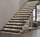 DIY Floating Staircase with Wood Tread Floating Stairs with Glass Railing