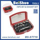 "Cheap Price 1/4"" 19PCS Hand Socket and Bit Socket Set"